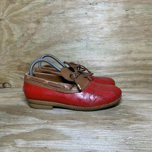Tory Burch Duck Boots Womens Size 8.5 M Red Brown Ankle High Rain Shoes *